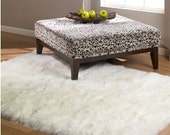 Shaggy White Faux Fur Polar Bear or Sheep Skin Accent Rug