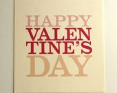 Happy Valentine's Day valentine - raspberry red, pale pink, peachy pink - love card, font, type, glassine envelope