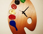 Wooden Wall Clock, Painted Wall Clock, Quartz Clock