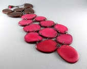"Chocolate Cherry Eco Friendly Tagua Nut Tie Necklace with Free Shipping ""The Office"" - decoratethediva"