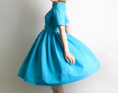 1950s Day Dress - Vintage Handmade Bright Sky Blue Classic Dress - Medium to Large - zwzzy