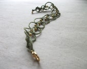 Moss Green Anklet Beaded Macrame Organic Hemp Gypsy Shambhala Jewelry - CosmicRebirth