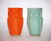 spring decor small owl vases, set of two mint and tangerine - claylicious