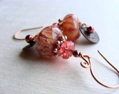Boro Lampwork Earrings, Peach Earrings, Coral Pink Earrings, Copper Earrings, Brass Earrings