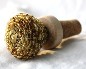Wine Stopper- Brown and gold beaded glass doorknob / drawer pull and new cork
