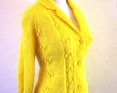 Vintage 1960s Bright Lemon Yellow Sweater Cardigan - RetroKittenVintage