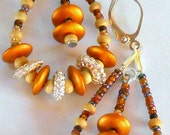 Silver and Gold Tone Beads with Natural Wood and Glass Seed Beads  Hoop Pierced Earrings