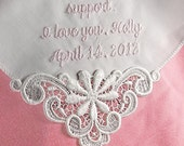 Gift for Mother of the Bride Custom Handkerchief Embroidered Personalized Linen