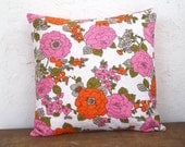 Vintage Floral Pillow Cover 16x16 - Pink & Orange Blooms