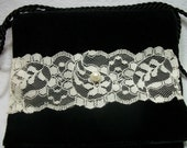 Black Velvet Bag Shabby Chic