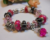 GIRLS RULE Hot Pink Pandora Style Bracelet