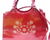 OOh La RED PATENT LEATHER Purse WoW Tooled Leather Floral Pattern - BaysideCottage