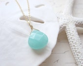 Aqua Seafoam Green Teardrop Faceted Briolette  Necklace 14k Gold Filled Chain Also Available in Sterling Silver - shoprhubarb
