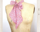 Handmade Secretary Neck Scarf in Magenta, Orange, Lavender, Pink Graphic Print