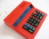 Vintage red calculator from USSR 80s, working industrial office decor - vintagelarisa