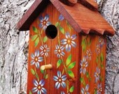Wood Birdhouse/Nesting Box - Blue Flowers USA made