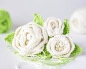 Original spring crocheted accessory on hoop. White and green flower hair clip, brooch or headband(0711020). - ArsiArt