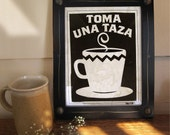 Kitchen Coffee Cup Framed Wall Art Black and White