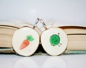 Best friend necklace set wood, peas and carrots, nature lover gifts, friendship gift, best friend gift - starlightwoods