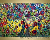 Original Fantasy Whimsical Trees Landscape Flowers Painting GARDEN of MANY FLOWERS 36x24 by Luiza Vizoli
