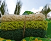 Crochet Cotton Washcloths Dishcloths Lime Kelly and Cream