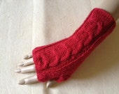 Red Luxury Soft Merino Wool Hand Knitted Fingerless Gloves  Arm Warmers Wrist Warmers Mittens