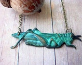 Verdigris Green Grasshopper Necklace Brass Insect Pendant Gift for Bug Collector, Entomologist