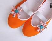 Orange power /ballet flats shoes spring summer tangerine blue teal turquoise bright jarmilki wedding woman bride poletsy fashion gift - CzarnaBiedronka