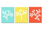 Coral Trio - Set of Three 8 x 10 Coordinating Coral Silhouette Prints - The Brights - Aqua, Yellow, and Red Orange - Tessyla