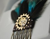 Steampunk Hair Accessory - One Of A Kind Feathered Hair Accessorie With Watch Parts and Gears - Wedding, Bridal, All Occasion