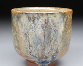 Stopped Just in Time 3 Golden Curtains Yunomi Tea Cup glazed with Shino, Wood Ash and Rutile with extraordinary one-of-a-kind effects