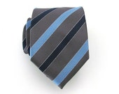 Tie Gray and Blue Striped Silk Necktie - TieObsessed