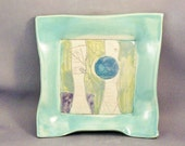 Blue ceramic plate / square plate / woodland tree design / wall hanging / hostess thank you / babysitter coworker teacher boss - BlueSkyPotteryCO