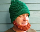 St Patrick's IRISH Beard Hat Beanie - READY to SHIP- Green Hat Red Beard