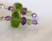 gemstone earrings tormaline amethyst peridot green purple dangle - girlthree