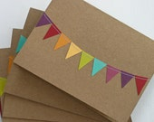 Thank You Cards Stationery with Bunting Flag in Rainbow - RainyDayColors