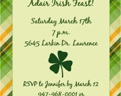 Personalized St Patrick's Day Dinner Invitations, Printable or E-Card