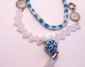 White&Blue   Bead crochet necklace Free shipping