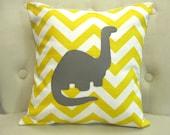 14x14 Dinosaur Yellow Chevron Pillow Cover - blackrufflebrigade