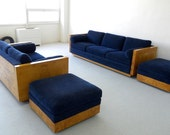 Vintage Milo Baughman Minimalist / Modernist furniture set for Thayer-Coggin, 2 & 3 Seater Sofas, Ottomans, Dining Table / Desk, c. 1970