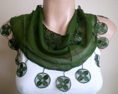 Moss Green Scarf Cotton Scarf Cowl with Lace Edge Women Scarves Spring Fashion - fizzaccessory