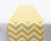 Yellow and White Chevron Table Runner - 11 x 129 in. - Ultrapom