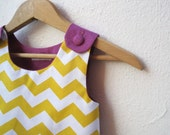 The Ava Dress - toddler girls dress in gold yellow geometric chevron and purple / mod spring fashion (ready to ship, size 2T)