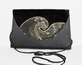 EVENING BAG Black Satin Evening Clutch Velvet Beaded Wave Front Flap - Lovely - Mint