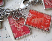 SALE red, ephemera, vintage, stamps, charm, bracelet. Jewelry by Jennifer Valentine of SacredCake on Etsy - SacredCake