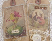 Easter Tags, Primitive, Cottage Spring, Home Decor, Spring, Shabby, cssteam, ofg team, ftteam
