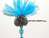 Brilliant Blue Peacock Bobby Pin/Hair jewelry  Stunning peacock with bright blue ostrich feathers and blue dangling jewels