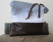hand-dyed clutch, cotton and upcycled leather, fold over clutch - driftwoodandfossil