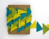 Triangle Garland - Geometric Felt Garland - Yellow Green Aqua