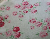 Bundle of Antique French Gallic Roses Cotton Fabric Pieces Material Blocks Scraps Quilting etc